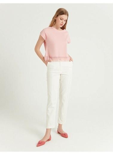 BGN Beyaz - Keten-Pamuk Karışım Pantolon Beyaz